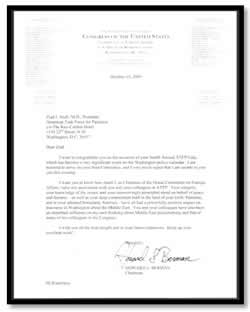 Letter from Representative Berman